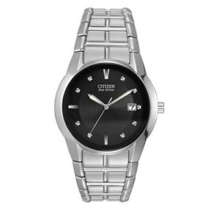 Mens Citizen Eco Drive™ Stainless Steel Watch with Black Dial