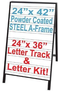 "NEOPlex 24"" x 42"" Black Powder Coated Steel Sidewalk Sandwich Board A frame Sign w/Letter Tracks Insert Panels and Full Letter Kit  Business And Store Signs"