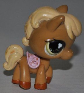 Horse #560 (Tan, Pink Saddle, Orange Hooves, Cream Hair, Nose Freckles) Littlest Pet Shop (Retired) Collector Toy   LPS Collectible Replacement Single Figure   Loose (OOP Out of Package & Print)