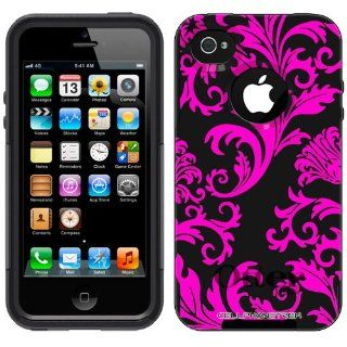 Otterbox Commuter Series Pink Floral Damask on Black Hybrid Case for Apple iPhone 4 & 4S Cell Phones & Accessories