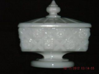Vintage Westmoreland Square Covered Candy Dish Quilted Milk Glass Vi