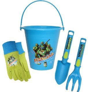 Midwest Gloves and Gear TM14P01 Teenage Mutant Ninja Turtles Gloves with Bucket, Trowel and Cultivator Combo Pack  Garden Tool Sets  Patio, Lawn & Garden