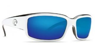 Costa Del Mar   Caballito   White Black Frame Blue Mirror Costa 580 Glass Lenses: Clothing