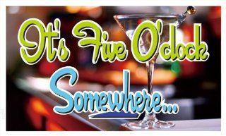 ADV PRO bb574 It's 5 O'clock Somewhere Bar Beer Banner Sign   Prints