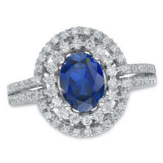 Oval Lab Created Blue Sapphire and White Sapphire Frame Ring in