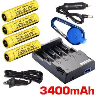 Nitecore Sysmax Intellicharge i4 version 2, Four Bays universal home/in car battery charger, Four Nitecore 18650 NL189 3400mAh rechargeable batteries with Smith & Wesson Carabeamer LED Clip Light Electronics