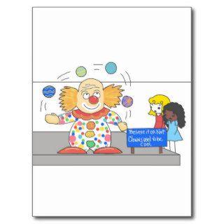 Funny Anti Clown whimsical Clown Joke Humor Post Cards