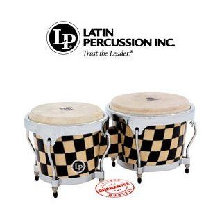 LP Aspire Accent Wood Bongos Checker Board/Chrome LPA601 CHKC: Musical Instruments