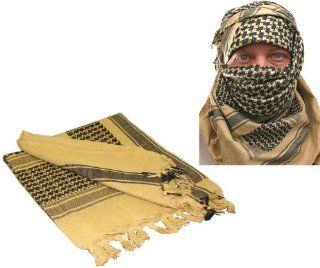 Desert Sand/Yellow & Black Shemagh Arab Keffiyeh Neck Scarf : Tan Shemagh : Sports & Outdoors
