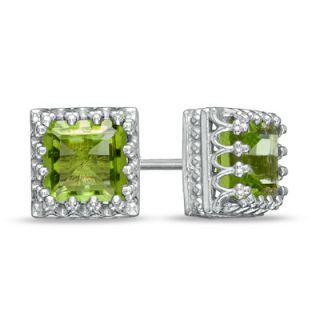 0mm Princess Cut Peridot Crown Earrings in Sterling Silver   Zales