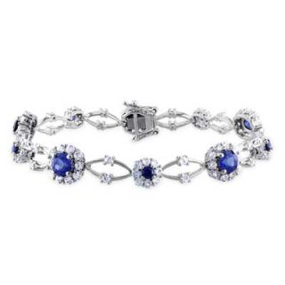 Lab Created Blue and White Sapphire Frame Bracelet in Sterling Silver
