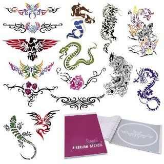 Temporary Tattoo Airbrush Stencils 15 Designs   Book 6