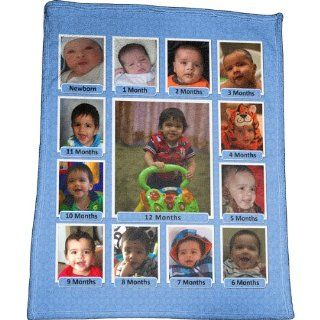 Baby's First Year Photo Collage Plush Fleece Blanket   Throw Blankets