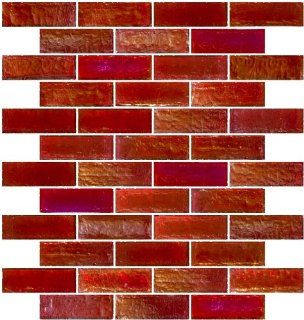 Susan Jablon Mosaics   1x3 Inch Red Iridescent Glass Subway Tile
