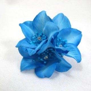Pool Blue Hair Flower Clip Pin and Pony 3 in 1  Beauty