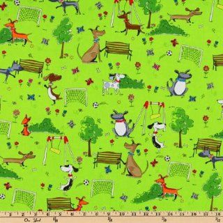 44'' Wide Dog Play Lime Fabric By The Yard