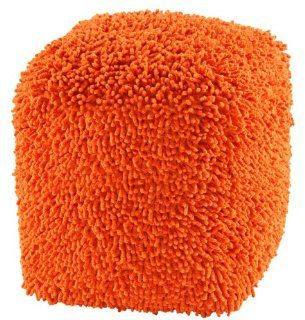 "Shop 19"" Orange ShagadelicTM Chenille Shag Pouf at the  Furniture Store"