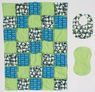 Cute Little Whales with a Blue and Green Tone Prints Baby Rag Quilt Blanket with Matching Burp Cloth and Bib : Baby Bedding Gift Sets : Baby