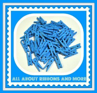 100 PASTEL BLUE MINI WOODEN CLOTHESPINS FOR BABY SHOWERS AND MORE
