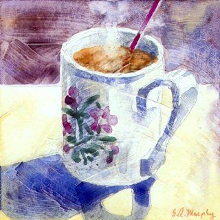 Hot Tea Series    Portmeiron Mug, Giclee Print of Watercolor Still Life, Showing a Cup of Hot Tea with an Image of Flowers on the Side, 6 X 6 Inches   Watercolor Paintings