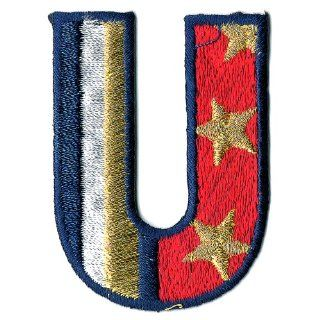 Venus Ribbon A40518 A Patriotic Letter U Applique, 2 Inch x 1 1/2 Inch, 4 Piece, Red/White/Navy/Gold