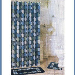 15 Piece Bathroom Set 2 Rugs/Mats, 1 Fabric Shower Curtain, 12 Fabric Covered Rings