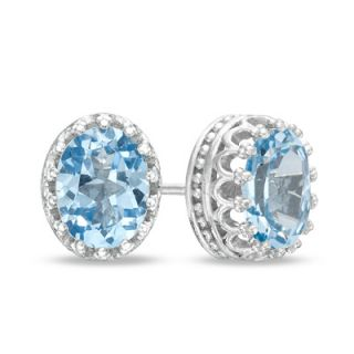 Oval Lab Created Aquamarine Crown Earrings in Sterling Silver   Zales