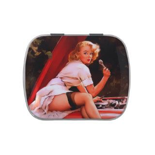 Vintage Retro Gil Elvgren Car Mechanic Pinup Girl Jelly Belly Candy Tins