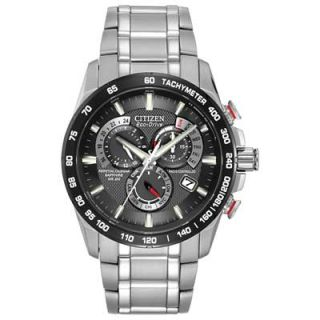 Mens Citizen Eco Drive™ Perpetual Chrono A T Watch with Black Dial