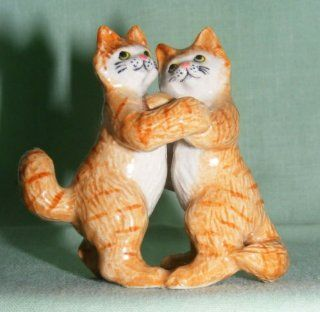 KLIMA Ginger CAT Tabby DANCERS on Hind Legs MINIATURE Porcelain #3 New FIGURINE K629C   Collectible Figurines