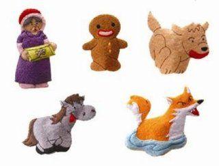 Gingerbread Man Felt Finger Puppet Set (5 Finger Puppets): Toys & Games