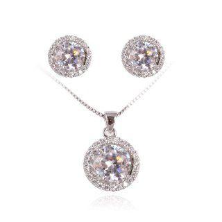 Rhodium Plated Basket Set Cubic Zircon CZ Swarovski Elements Necklace and Earring Jewelry Set S94: Jewelry