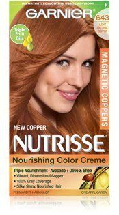 Garnier Nutrisse Nourishing Color Creme Permanent Haircolor, Limited Edition Magnetic Coppers, Light Natural Copper 643  Chemical Hair Dyes  Beauty