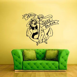 Wall Art Vinyl Sticker Decal Mural Design Ahoy There Sailor Sexy Girl Tattoo Anchor 647   Wall Decor Stickers