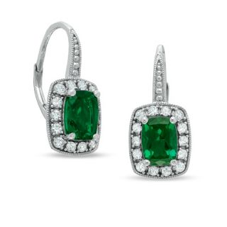Cushion Cut Lab Created Emerald and White Sapphire Frame Earrings in