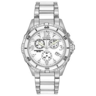 Ladies Citizen Eco Drive™ Diamond Accent Ceramic and Stainless