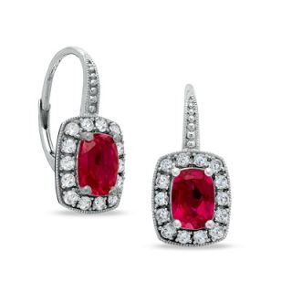 Cushion Cut Lab Created Ruby and White Sapphire Frame Earrings in 14K