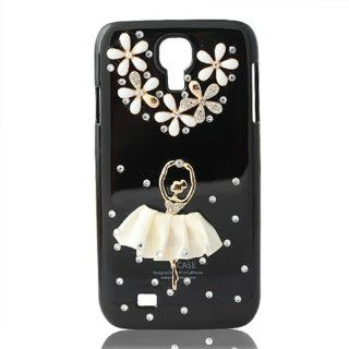 United Electek� For Samsung Galaxy S4 i9500 Bling Crystal Rhinestone Flower Ballet Girl Dancer Black Case Cover + United Electek Purple Velvet Pouch   Comes with Gift Box Package: Cell Phones & Accessories