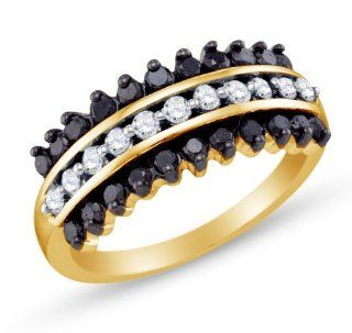 10K Yellow and White Two 2 Tone Gold Channel Set Round Brilliant Cut Black and White Diamond Ladies Womens Fashion, Wedding Ring OR Anniversary Band (.85 cttw.): Jewelry