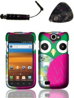 Samsung Exhibit II 4G T679 (T Mobile) Rubberized Design   Owl Design Snap on Hard Shell Cover Protector Faceplate AND HiShop(TM) Stylus, Guitar Pick/Pry Tool: Cell Phones & Accessories