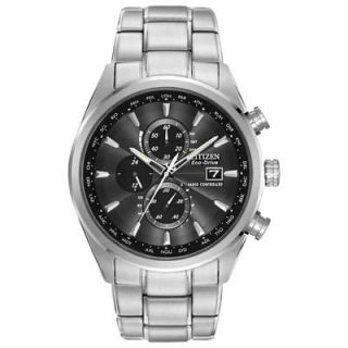 Mens Citizen Eco Drive™ World Chronograph A T Watch with Black Dial