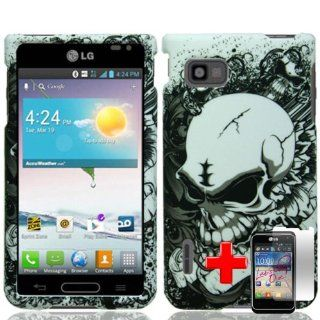 LG Optimus F3 MS659 (Sprint/MetroPCS/T Mobile) 2 Piece Snap On Glossy Plastic Image Case Cover, White Scary Skull Black Hazy Cover + LCD Clear Screen Saver Protector: Cell Phones & Accessories