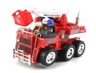 World Class Fire Rescue Crane Bump & Go Battery Operated Toy Truck w/ Extending Crane, Lights & Sounds: Toys & Games