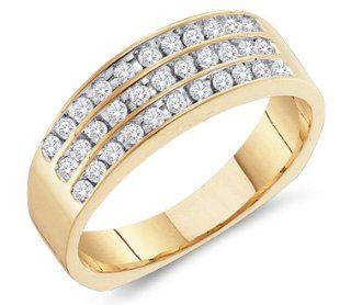 14k Yellow Gold 3 Three Row Wide Channel Set Round Cut Mens Diamond Wedding Ring Band (1/2 cttw): Jewelry