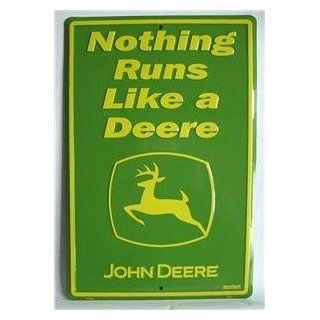 Nothing Runs Like a Deere John Deere Tractor Tin Sign : Everything Else