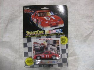 NASCAR #11 Geoff Bodine Goodyear / STP Racing Team Stock Car With Driver's Collectors Card And Display Stand. Racing Champions Black Background Red Series 51 Car Toys & Games