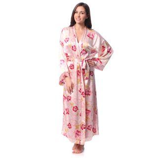 Julianna Rae Julianna Rae Womens Rose Memories Long Silk Robe Multi Size M (8  10)