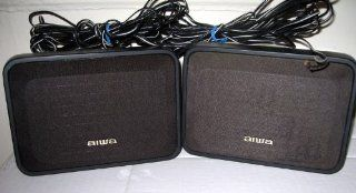 Aiwa Black Net SX R210 Surround Speaker System 2 Bookshelf Surround Speakers Electronics