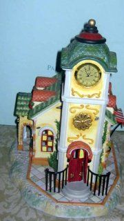Partylite Clock Tower   Olde World Village   Retired  Holiday Collectible Buildings