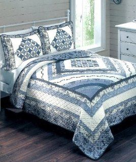 Sunham Home Fashions Madison Blue Patterned Handcrafted FULL/QUEEN Quilt   Full Size Quilts Blue